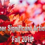 Fall 2016: Other Significant Articles
